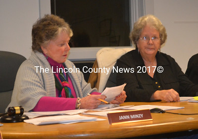 Waldoboro Selectmen Jann Minzy (left) and Katherine Winchenbach discuss board procedures during a workshop on the topic prior to the board's meeting on Tuesday, Jan. 26. (Alexander Violo photo)