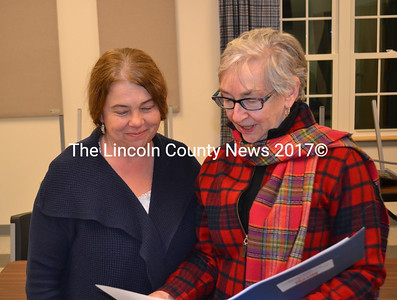 Floodplain management program state coordinator Sue Baker (left) and Maine Emergency Management Agency Hazard Mitigation Officer JoAnn Mooney explain the National Flood Insurance Program at a public hearing before the Whitefield Planning Board Jan. 20. (Abigail Adams photo)