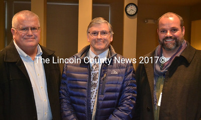 Scarborough Police Department Patrol Office John Gill, Sen. Chris Johnson, and Portland Recovery Community Center Manager Steve Cortreau (left to right) explained the nuts and bolts of Operation HOPE to Lincoln County at the Skidompha Library in Damariscotta Jan. 20. (Abigail Adams photo)