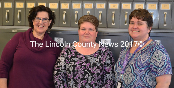 Lincoln County Registry of Probate's Deputy Register Karen Robbins, Register of Probate Catherine Moore, and Clerk Susan Hodgdon on Jan. 14.