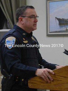 Wiscasset Police Chief Troy Cline appears before the Wiscasset Board of Selectmen Tuesday, Jan. 26 to request funds to replace the department's 2008 Ford Crown Victoria. The board's motion to purchase and equip a 2015 Ford Interceptor Utility at a cost not to exceed $36,000 passed with a vote of 4-1. (Maia Zewert photo)