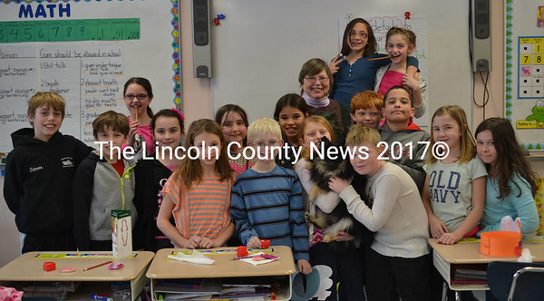 Marina Hingston's fourth-grade class learns about the importance of oral health for all animals from veterinarian Dr. Christine Welch and dog Jesup at Nobleboro Central School on Friday, Feb. 12. (Abigail Adams photo)