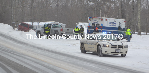 Jefferson Fire and Rescue and the Lincoln County Sherriff's Office respond to a single-vehicle accident on Augusta Road in Jefferson on Saturday, Feb. 13. The driver was taken to the hospital with non-life-threatening injuries. (Alexander Violo photo)