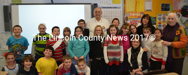 Former United Space Alliance Director of Orbiter Production and Operations Edward Polewarczyk speaks about space exploration to Paula Schuster's third grade class at the Nobleboro Central School Feb. 12. (Abigail Adams photo)