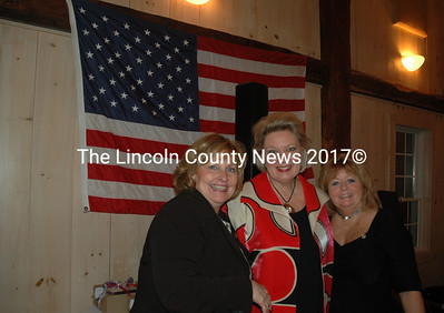 Maine First Lady Ann LePage, Lincoln County Republican Committee Finance Chair Elizabeth Printy, and Maine Republican Party Secretary Barbara Campbell Harvey pose for a photograph during the Lincoln Day dinner at The 1812 Farm on Friday, Feb. 12. (Maia Zewert photo)