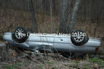 Ricky Real, of Waldoboro, was driving an Acura sedan north on Route 32 in Waldoboro when the vehicle left the right side of the roadway and rolled over. (Alexander Violo photo)