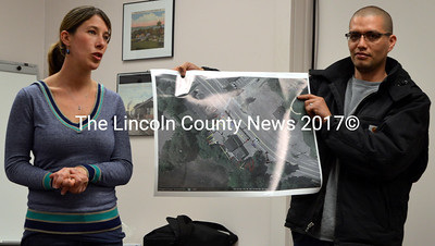 Sara McKenzie and Michael Castillo present a site plan for ¡Que Rico! during a public hearing before the Newcastle Planning Board on Thursday, May 5. (Maia Zewert photo)