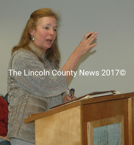 Susan Kellam tells the Waldoboro Board of Selectmen about Medomak Valley Land Trust's plans for River Park on Tuesday, May 10. (Alexander Violo photo)
