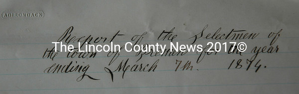 A Bremen selectmen's report from March 1874. (Alexander Violo photo)