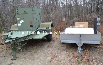 The Lincoln County Emergency Management Agency's mobile generators at Lincoln County Recycling on Jan. 12. The 30,000-watt (left) and 8,000-watt mobile generators can travel where needed to provide a power source in the event of an extended outage. (Abigail Adams photo)