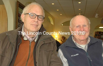 Damariscotta-Newcastle Rotary Club members Winslow Myers (left) and Larry Townley in the cafe of the Maine Coast Book Shop Jan. 19. Townley helped orgainze a collection drive that brought in $4,500 for local food pantries Nov. 23-Dec. 23, 2015. (Maia Zewert photo)