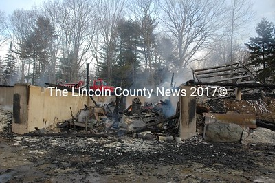 Fire leveled a two-story barn and destroyed a pickup truck at 492 State Route 129 in South Bristol early Thursday morning, Jan. 14. South Bristol Fire Chief Mark Carrothers said the barn collapsed into the basement shortly after he arrived on scene. (Maia Zewert photo)