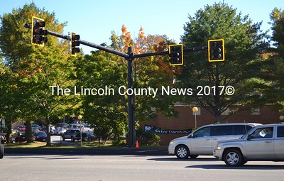 The installation of the traffic signal at the intersection of Route 1 and Route 27 in Wiscasset was complete Thursday, Oct. 6. The traffic signal is expected to be programmed and fully operational by the end of October, a Maine Department of Transportation official said. (Abigail Adams photo)