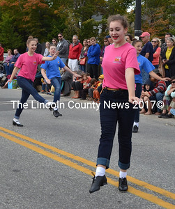 The Renys Rockets dance team from Midcoast Dance Studio performs during the Giant Pumpkin Parade on Saturday, Oct. 8. (Maia Zewert photo)