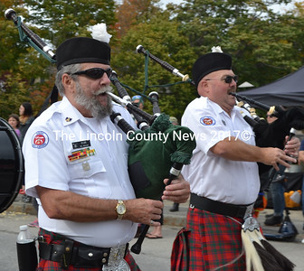 Bagpipers play during the Damariscotta Pumpkinfest's Giant Pumpkin Parade on Saturday, Oct. 8. The parade was one of the highlights of the event, now in its 10th year. (Maia Zewert photo)