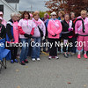 Breast cancer surviviors were recognized before the Making Strides Against Breast Cancer walk in Damariscotta on Sunday, Oct. 23. More than 300 people participated in the annual walk, which raises money for breast cancer research, as well as education and support for patients. (Maia Zewert photo)