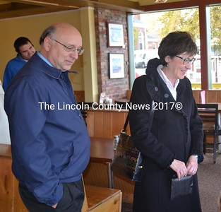 Maine Senate District 13 candidate Dana Dow, R-Waldoboro, campaigns at Sarah's Cafe in Wiscasset with U.S. Sen. Susan Collins the afternoon of Tuesday, Oct. 25. (Abigail Adams photo)