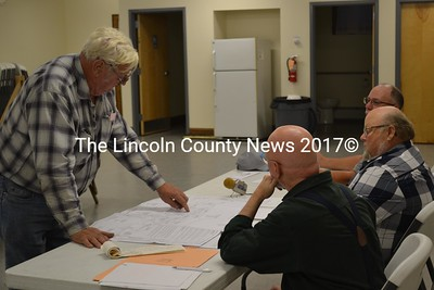 Dick Condon (left) explains his request for an abatement for his Ludwig Road gravel pit to the Dresden Board of Selectmen on Monday, Oct. 3. (Abigail Adams photo)