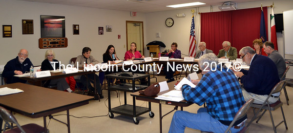The Lincoln County Budget Advisory Committee completes its review of the 2017 budget Thursday, Oct. 27. Clockwise from left: Chairman Bud Lewis; committee members Wendy Pieh and Robin Mayer; County Finance Directer Michelle Cearbaugh; County Administrator Carrie Kipfer; Commissioners Mary Trescot, William Blodgett, and Hamilton Meserve; Administrative Assistant Deb Tibbetts; and committee members Benjamin Rines Jr., Jack Sarmanian, and George Richardson Jr. (Charlotte Boynton photo)