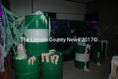 """Radioactive waste"" was spilling out of containers in one room at A.D. Gray on Halloween. (Alexander Violo photo)"