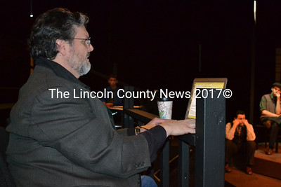 "Director Griff Braley prepares to begin a dress rehearsal of Heartwood Regional Theater Company and Lincoln Academy's production of ""These Shining Lives"" at LA's Parker B. Poe Theater in Newcastle on Friday, Oct. 28. (Christine LaPado-Breglia photo)"