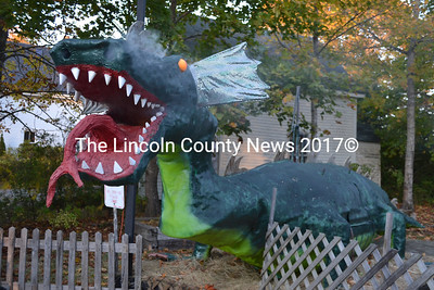 A dragon greets visitors to the Haunted Castle's Keep in New Harbor. Michael Morrison and his family open the haunted house every year and offer it free to families. (Maia Zewert photo)