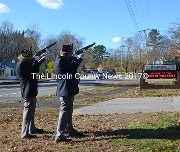 Legionaries Dennis Hill (left) and Dale Skillin fire the gun salute during the Veterans Day service in Wiscasset. (Charlotte Boynton photo)