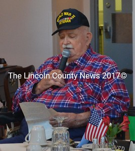 World War II veteran Joe Gray, of Damariscotta, talks about the sacrifices of veterans during a ceremony at Schooner Cove the morning of Veterans Day, Friday, Nov. 11. (Maia Zewert photo)