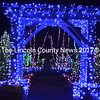 More than 360,000 lights decorate the upper campus of Coastal Maine Botanical Gardens for the Gardens Aglow light show. Here, an archway covered in festive blue lights beckons visitors into the gardens. (Christine LaPado-Breglia photo)