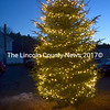 The tree outside the Kings Mills Union Hall in Whitefield is aglow for the holiday season after the tree lighting and Christmas party. (Abigail Adams photo)