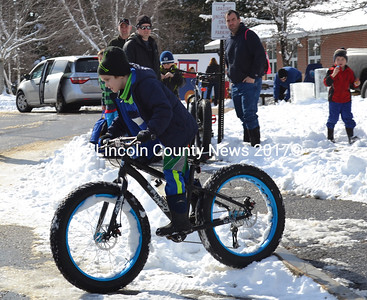 "Bath Cycle and Ski representatives provided mountain bikes for the kids to ride, The so-called ""fat bikes"" have much wider tires than typically used. (Charlotte Boynton Photo)"
