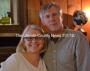 Saundra and Eric Neperud in the soon-to-be lounge of the Wiscasset Motor Lodge on Friday, Feb. 5. The Neperuds bought the business in December. (Abigail Adams photo)