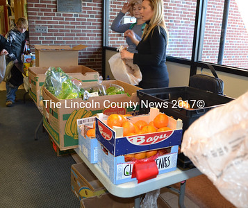 Wiscasset Middle High School students can pick up fresh fruits and vegetables at the school's food pantry every Tuesday. The Help Yourself Shelf supplies the pantry, which is operated by staff and student volunteers. (Charlotte Boynton photo)