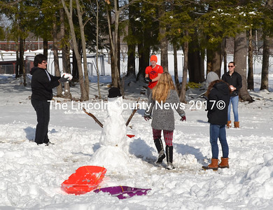 Students and parents enjoy making a snowman at the Wiscasset Community Center during Winterfest activities, Feb. 6. (Charlotte Boynton photo)