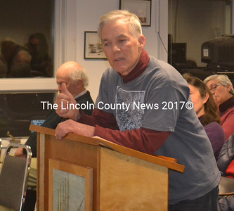 Former selectman Steve Cartwright addresses the Waldoboro Board of Selectmen Tuesday night. Cartwright urged all parties to be professional in consideration of the town manager's contract and stressed the potential in the community of Waldoboro. (Alexander Violo photo)