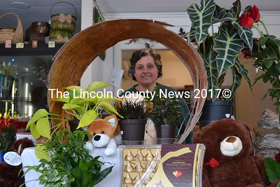 Datvik Deirkrikorian, owner of Water Lily Flowers and Gifts in Wiscasset, takes a break from making flower arrangements to pose for a picture Tuesday, Feb. 9. (Abigail Adams photo)