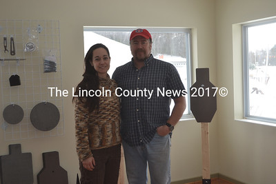 President Kristine Blake and General Manager Jeffrey Blake stand inside the future location of Liberty Tree Arms in Waldoboro. The gun shop will have a soft opening at the end of Febraury or early March and a grand opening in the spring. (Alexander Violo photo)