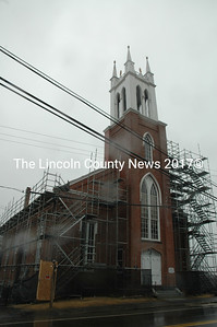 Scaffolding was erected around the Second Congregational Church in Newcastle earlier in March in preparation for a major roof replacement. The external work on the building is scheduled to begin in April and be finished by July. (Maia Zewert photo)
