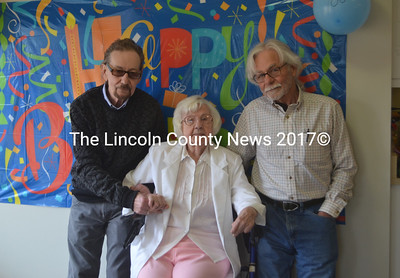 Jolan Frazzetta, of Waldoboro Green, celebrates her 100th birthday with sons Frank Frazzetta (left), of Connecticut, and Vinnie Frazzetta (right), of New Mexico. (Alexander Violo photo)