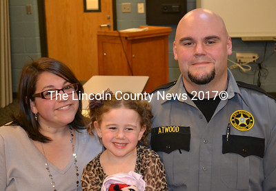 From left: Lindsey, Maizy, and Matt Atwood attend the Lincoln and Sagadahoc Multicounty Jail Authority meeting March 9. Matt Atwood was recognized with a Colonel's Commendation. (Abigail Adams photo)