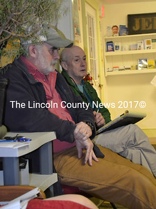 Head Tide Dam Committee member Greg Shute (left) and Atlantic Salmon Federation Vice President of U.S. Operations Andrew Goode attend a meeting of the Alna Board of Selectmen on Feb. 24. (Abigail Adams photo)