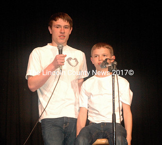 """""""Ventriloquist"""" Ethan Swan uses his """"dummy"""" Josh to answer topical questions in the talent competition. (Eleanor Cade Busby photo)"""