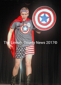 """Nicholas DePatsy channels his inner superhero as Captain 'Murica. """"The way things are right now, a redneck superhero seems right,"""" he said. Each contestant presented a """"superhero."""" (Eleanor Cade Busby photo)"""