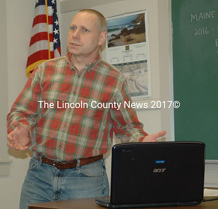 Engineer Eric Calderwood discusses the Heath Road bridge project with the Bremen Board of Selectmen and members of the public during a meeting on Thursday, April 7. (Alexander Violo photo)