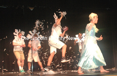 """Jackson Vail's lip-sync performance of """"Let it Go"""" from the Disney film """"Frozen"""" was accompanied by the """"Snowflakes,"""" who threw confetti around the stage. (Eleanor Cade Busby photo)"""