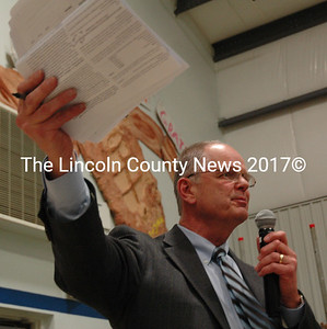 Central Lincoln County School System Superintendent Steve Bailey speaks at South Bristol's annual town meeting March 8. Bailey is one of two finalists for the superintendent position in Cape Elizabeth. (Maia Zewert photo, LCN file)