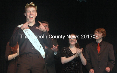 Jackson Vail was crowned Mr. Medomak 2016 after a fierce competition for the coveted title on Thursday, April 7. From left: Vail, Claire Lupien, and Jacob Siegal. (Eleanor Cade Busby photo)
