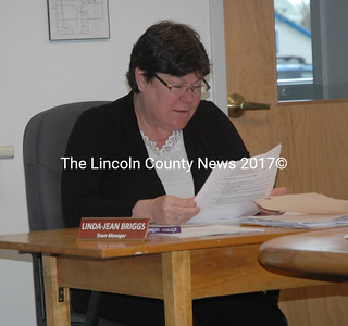 Town Manager Linda-Jean Briggs speaks during a meeting of the Waldoboro Board of Selectmen on Tuesday, April 26. (Alexander Violo photo)