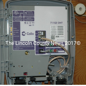 The fiber-to-the-home modem at the Waldoboro town office. The modems are similar to cable modems, but are larger and provide faster service. (Alexander Violo photo)