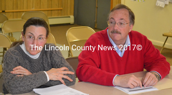 Edgecomb Economic Development Committee members Janet Blevins and Ted Hugger address the Edgecomb Board of Selectmen on Monday, April 25. (Abigail Adams photo)